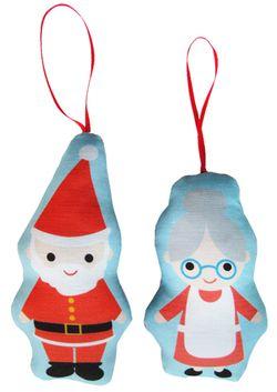 Elf santa and mrs ornaments