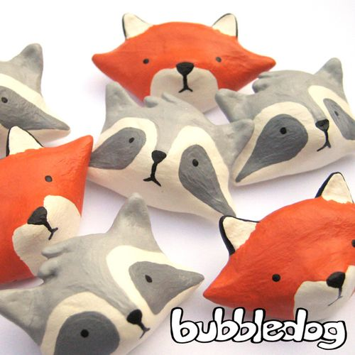 Bubbledog fox and raccoon pins 1